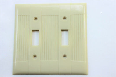 Vtg Eagle Tuxedo Ribbed Ivory Bakelite Double Light Switch Plate Cover Art Deco