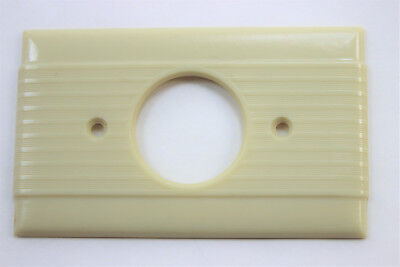 Vtg Uniline Ribbed Ivory Bakelite Single Outlet Wall Plate Cover Art Deco round