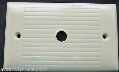 Ivory Bakelite Uniline Wall Cable Punch Button Switch Plate Ribbed Light Cover