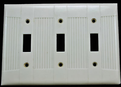 Vtg Tuxedo Bakelite Ivory Ribbed Triple Light Switch 3 Outlet Cover Plate