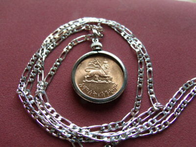 """Haile Sellasie Lion of Judah Coin Pendant on a 28"""" Silver Link Style Chain. 23mm"""