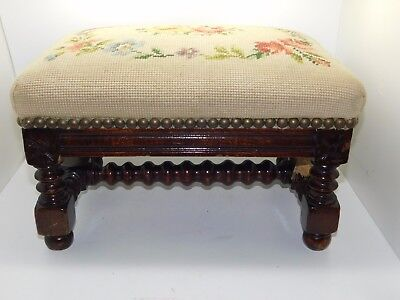 Rare Antique 19th Century Needlepoint Wooden Footstool