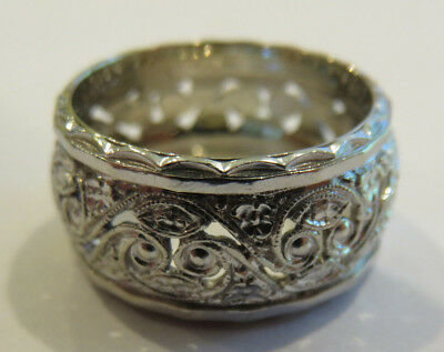 14K Antique Vintage Art Deco Filigree Floral Eternity Wedding Band Wide Ring