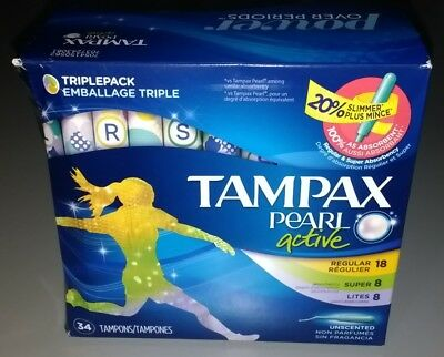 Tampax Pearl Active Tampons Mix, Unscented (34 Tampons each)