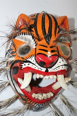 456 Tigre Mirror Eyes Wooden Mexican Mask  Tiger  Madera Artesania Chilapa