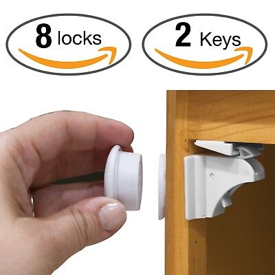 Child Safety Cabinet Locks, No Tools Needed! Magnetic Cabinet Locks Set - 3M