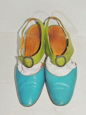 1920's / 1930's  Turquoise / Green Leather De Lisa Pumps / Heels sz 7B