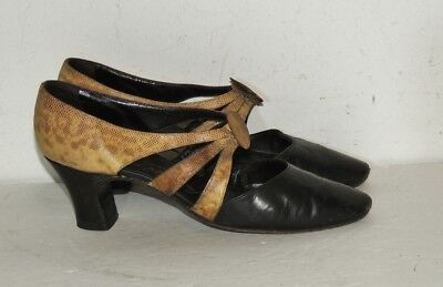 1930's  Black Leather / Lizard Pucelle / Saks  Pumps / Heels Appx 6 1/2 - 7  N