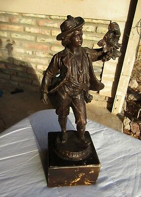 MAN with Grapes Spelter Statue Wine Drinker French Great old Item