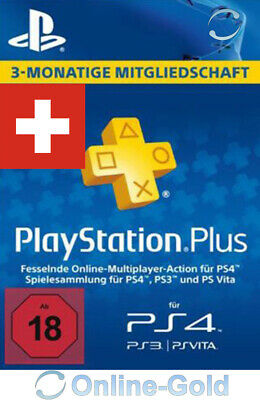 Playstation Plus Card 3 Monate 90 Tage - SONY PS3/PS4/PS Vita/PSN *CH Schweiz*