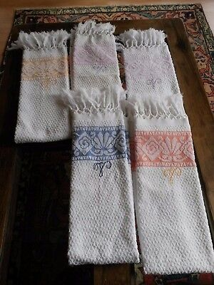 Lot01/ 5 Serviettes de toilette anciennes éponge Monogram V art déco Old towels