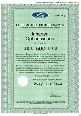 Ford Motor Credit Company 500 USD-OS 1987