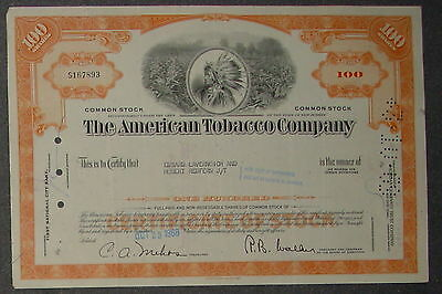 The American Tobacco Company 1968 100 Shares