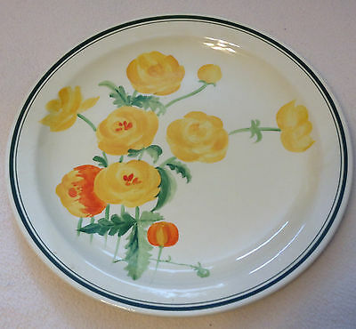 Royal Doulton Yellow Flower Dinner Plate Entirely Painted by Hand Floral