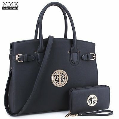 MMK Collection PU Leather Briefcase Style Women Designer Satchel with Emblem and