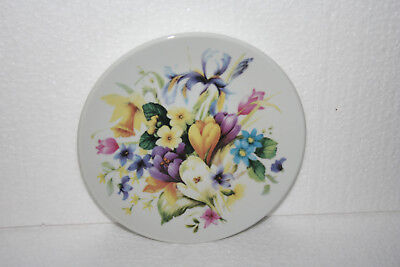 "Vintage White Porcelain Mixed Multicolored Floral Bouquet Plate 5-3/4"" Diameter"