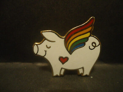 Flying Pig with Rainbow Wings & Valentine Heart Pigs Fly Lapel Hat Pin
