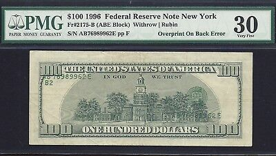 1996 $100.00 Frn *over-Print On Reverse* P.m.g #30