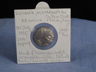 Ancient Greek Coin Lucania Metapontion 340-330Bc Good-Fine Silver