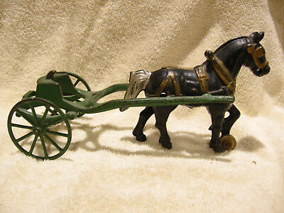 Vintage Kenton Toys Early Cast Iron Horse and Carriage