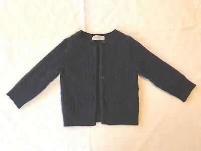 Bravo Bambino Girls 100% Cashmere Navy Blue Cable Knit Cardigan 18-24 months