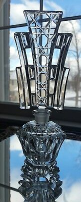 "Antique American Brilliant Cut Glass Crystal Footed Perfume Bottle 8,5""  Abp"