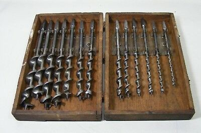 Vintage. Auger Bit Set Unmarked 13 Bits # 4 - 16  In Wood Case