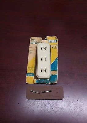 Vintage (NOS) Leviton Large 3-IN-ONE Bakelite Electrical Outlet (Ivory) 15A-125V
