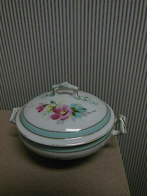 Antique White Ironstone Lidded Vegetable Casserole Dish With Hand Painted Flower