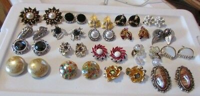 Lot of Vintage Clip On & Screw-back Earrings-19 pair-Rhinestone and More!
