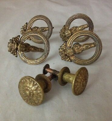 Unusual Set Vintage Antique Brass Drop Ring w/Shield Drawer Pulls & Knobs