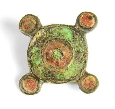 Roman enamelled disc brooch: Circa 2nd century AD.