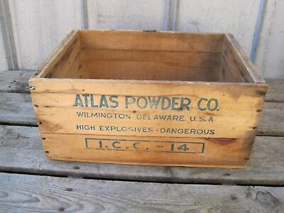 Vintage Atlas Powder Co High Explosives Dynamite Wood Box Wooden Crate B7794