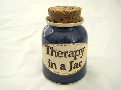 """Dr. Brophy's Stoneware Word Jars """"Therapy in a Jar"""" with Cork Circa 1998 5"""" tall"""