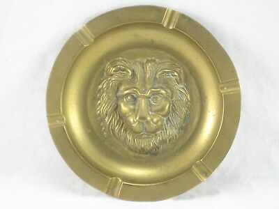 Solid Brass Lion Head Ashtray Embossed Used