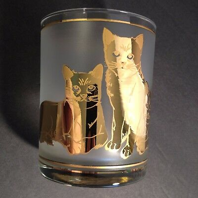 Culver Lowball Glasses Cats 22 Kt Gold Rocks Double Old Fashion BarWare MINT VTG