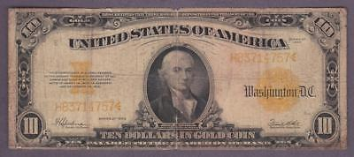 1922 $10.00 Historic 'gold Coin' Gold Certificate
