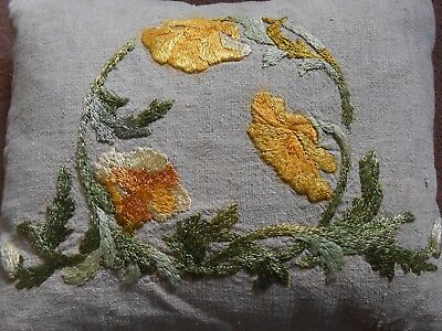 Antique Arts And Crafts Pillow Poppies