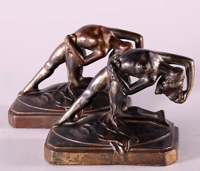1930s Art Deco Nude Figural Burlesque Dancer Pin-up Form Antique Bookends Fab!