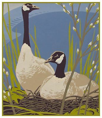 Canadian Geese Birds by  A.J. Casson Counted Cross Stitch Pattern