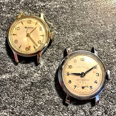 Vintage Lot Of 2 Westclox Retro Classic Watches Parts Repair Need Serviced