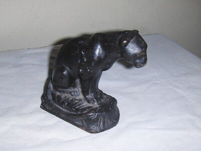 Antique Cast Iron Vintage Black Panther Cougar Figural Door Stop Cat Book End