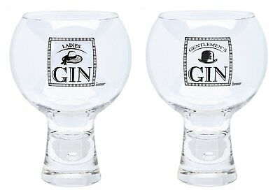 Set Of Two Alternato  Etched Gin Glasses - Ladies' Gin Or Gentlemen's Gin - New