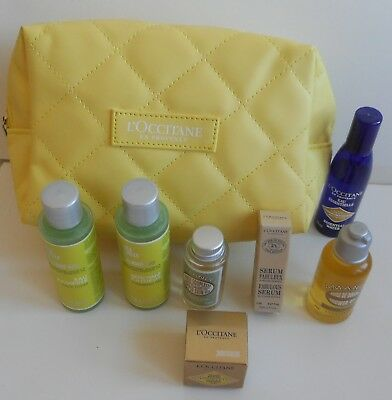 New L'Occitane 7 Cleansing and Beauty Products and Yellow Travel Bag