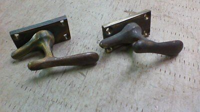 Vintage Pair Solid Brass  Latches -Ice Box -Cabinet -Window