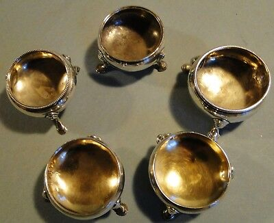 Good Antique Group 5 English Georgian 18Th Century Sterling Silver Salt Cellars