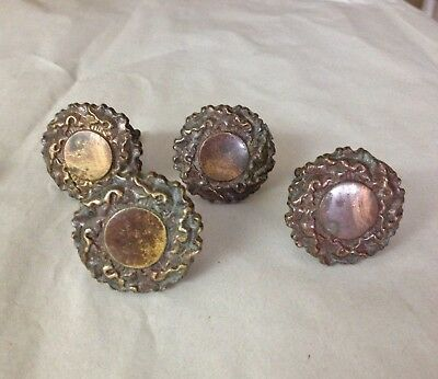 Set of 4 Vintage Antique Solid Brass Large Drawer Pulls & Knobs