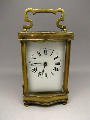 Antique French Carriage Clock Brass 5 Glass  Enamel Face Mantel