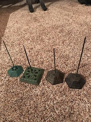 Lot of 4 Vintage Antique Cast Iron Receipt Bill Holder Spike Fancy Ornate Base