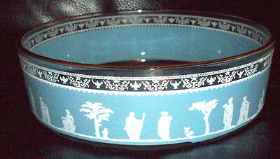 Rare Collectible Vintage JEANNETTE GLASS Greek Hellenic Blue and White Bowl RARE